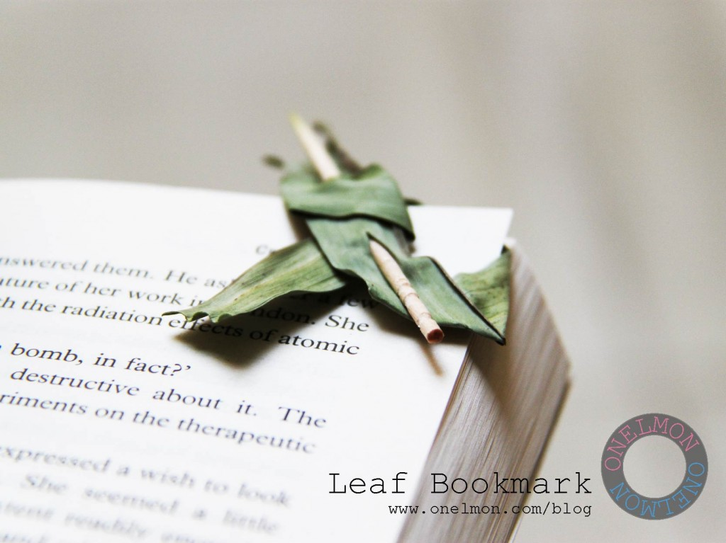 DIY leaf bookmark tutorial @ onelmon