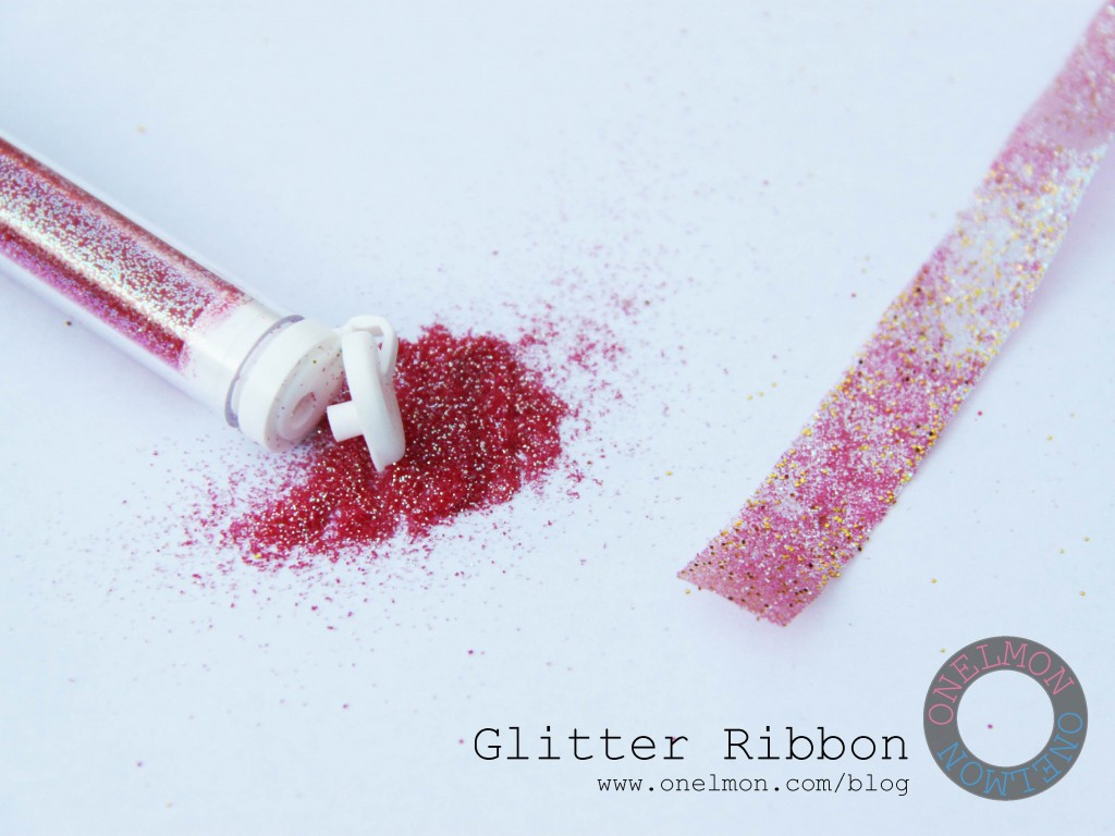 DIY Glitter Ribbon tutorial @ onelmon