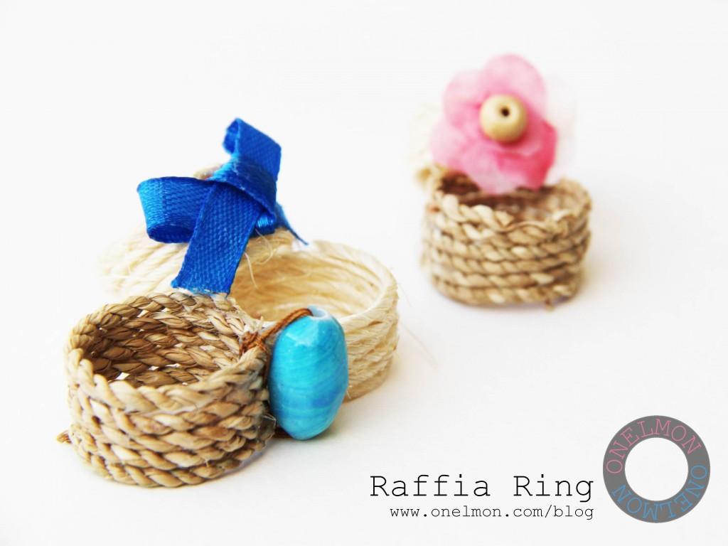 DIY Raffia Ring tutorial @ onelmon