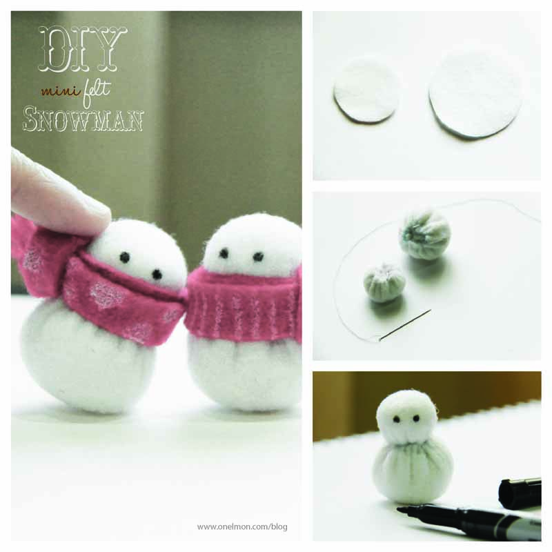DIY Mini Felt Snowman | onelmon