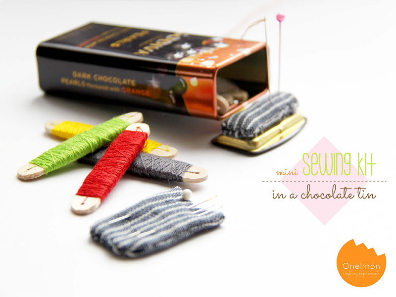 DIY Tutorial: Mini Sewing Kit in a Chocolate Tin | onelmon