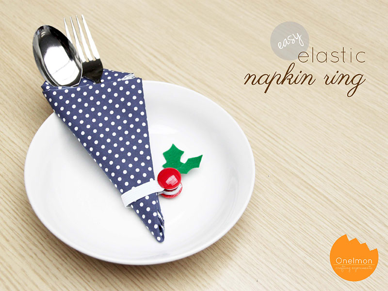 DIY Tutorial: Easy Elastic Napkin Ring for Christmas | @onelmon