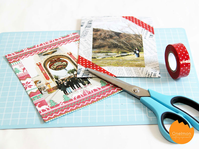 DIY Tutorial: Wrapping Paper Photo Frame | @onelmon