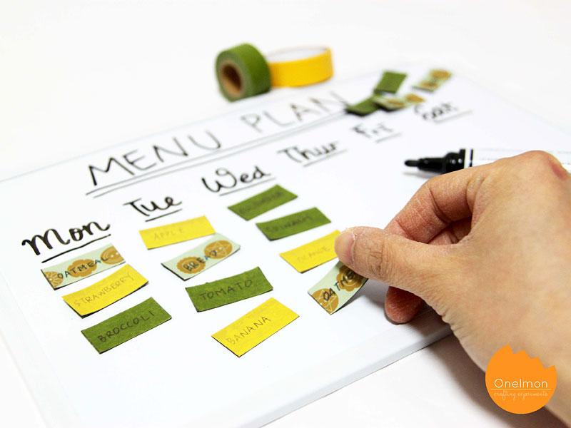 DIY Tutorial: Menu Planning with Washi Tape | @onelmon