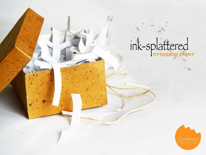 DIY Tutorial: Ink-Splattered Wrapping Paper | @onelmon