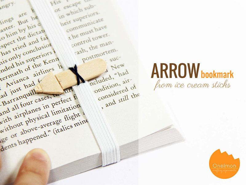 DIY Tutorial: Ice cream Stick Arrow Bookmark | @onelmon